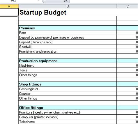 start up business budget template startup budget template excel