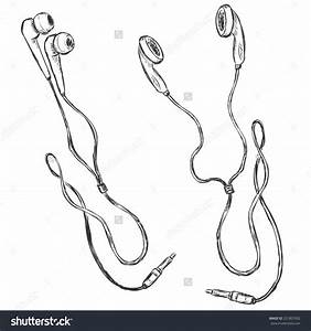 Drawing clipart earbuds - Pencil and in color drawing ...