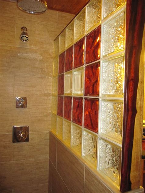 Glass Block Bathroom Designs by Decorative Glass Block Shower Bamboo Porcelian Tiles