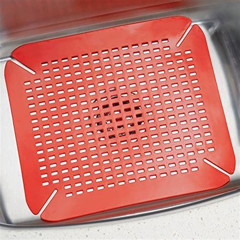 interdesign contour kitchen sink protector mat red