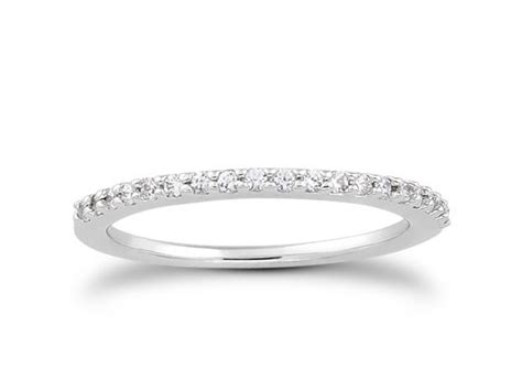 Slender Micro Prong Diamond Wedding Ring Band In 14k White