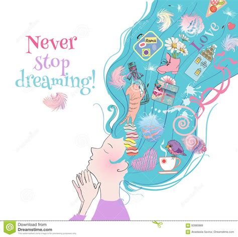 dreamy girl card stock vector illustration  design