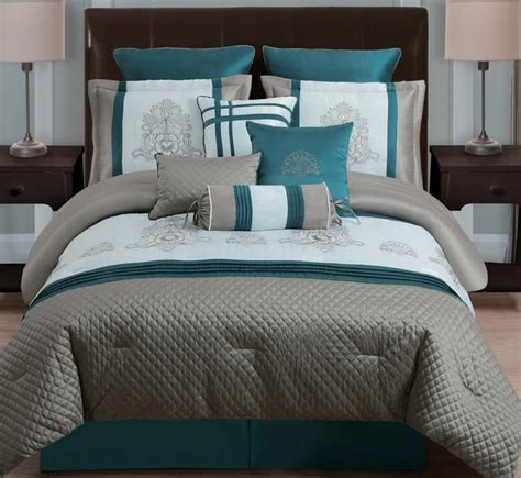 Still in this case white furniture is visible, on the lamp, even bed (with stripes) and pillows. Teal And Black Bedding Sets | Top Home Information