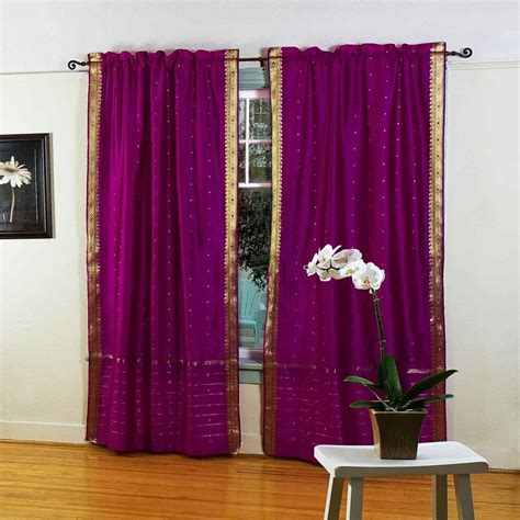 Drapes India - violet 84 inch rod pocket sheer sari curtain panel