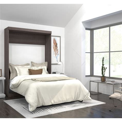 bestar pur full wall bed in bark gray 26183 47
