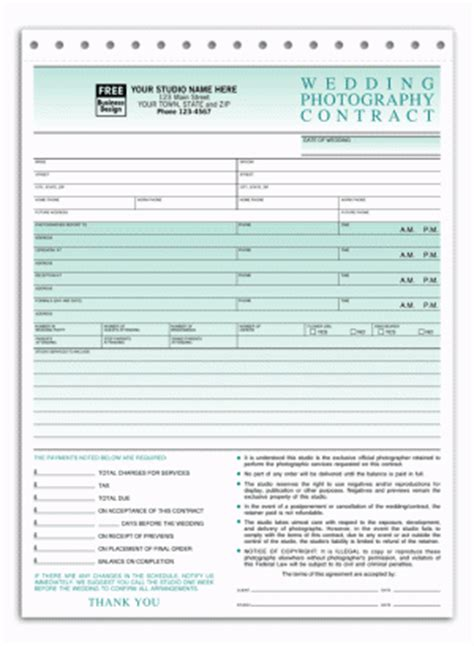 printable wedding photography contract template form