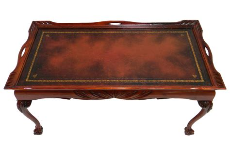 Antique Leather Inlay Coffee Table   Omero Home