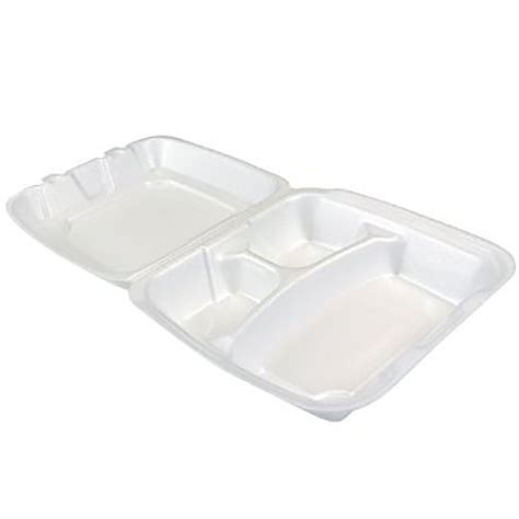 200 Dart 3 Compartment Hinged Foam Takeout Food Containers ...