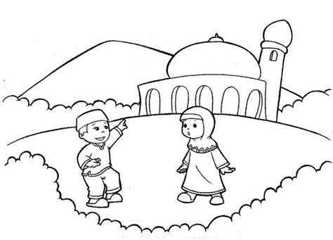 11 contoh mewarnai gambar masjid sederhana untuk paud tk