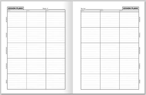 weekly lesson plan book template
