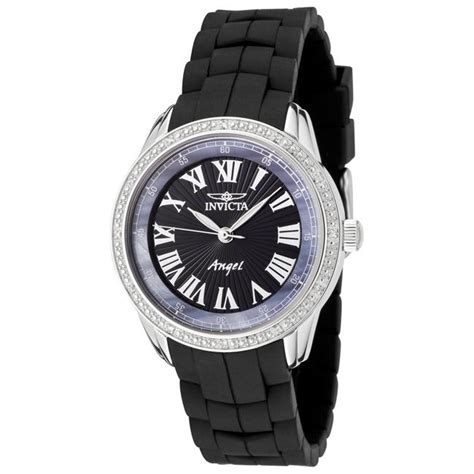 invicta womens angel black polyurethane white diamond