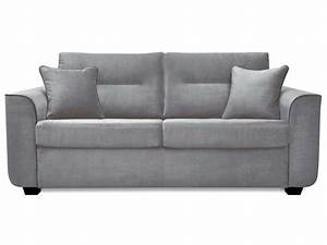 Canapé fixe convertible 3 places en tissu MARINA coloris gris clair Vente de Canapé droit