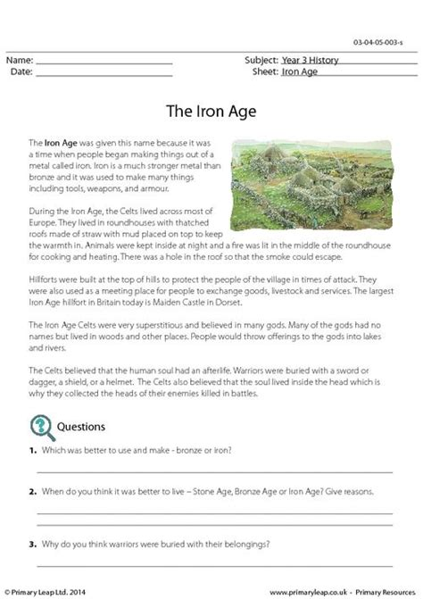 reading comprehension the iron age primaryleap co uk