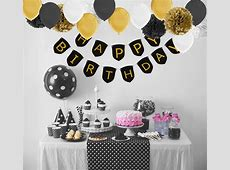 Paxcoo Black and Gold Birthday Decorations with Happy