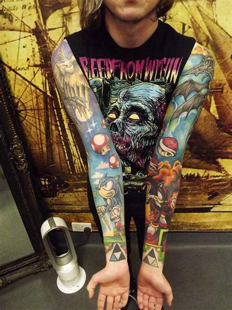 video game sleeve dope tattoos