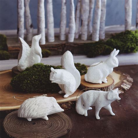 christmas porcelain piece white forest animals tree