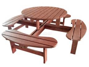 Hardwood Garden Benches by New 8 Seater Wooden Pub Bench Round Picnic Table Furniture