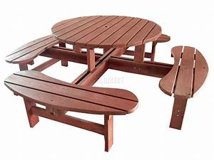 Garden Patio 8 Seat Seater Wooden Pub Bench Round Picnic