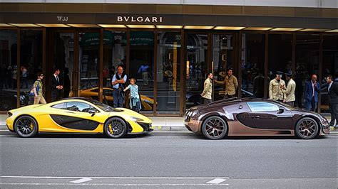 The pieces are now on display in numerous collections and museums across the world. McLaren P1 and Bugatti Veyron Vitesse Rembrandt Edition: Sounds in London - YouTube