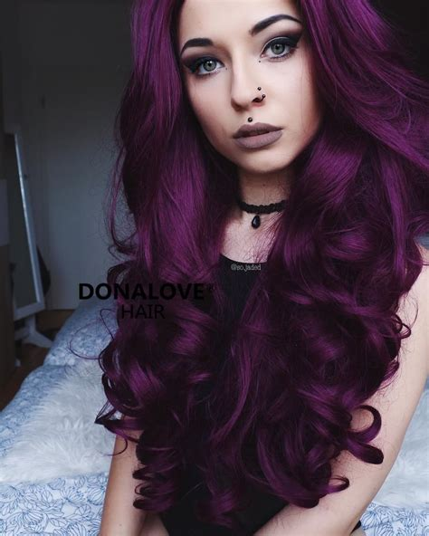 Dark Purple Wavy Waist Length Wig Donalovehair