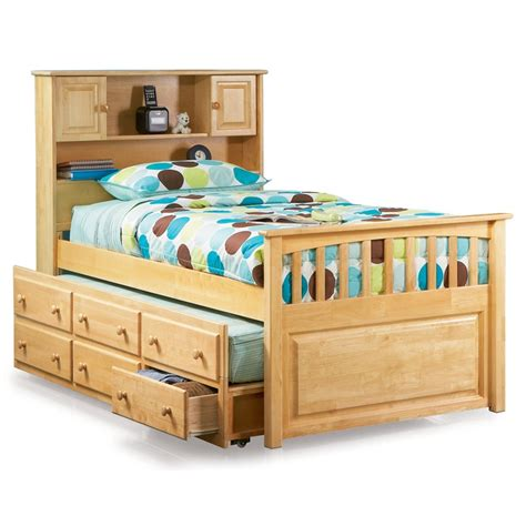 captain 39 s bookcase headboard trundle bed atlantic