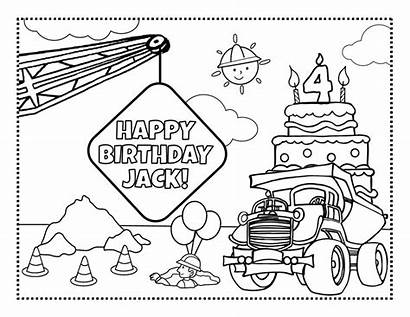 Coloring Pages Construction Personalized Frecklebox Party Birthday