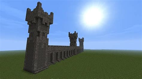 castle wall  towers  battlements minecraft map