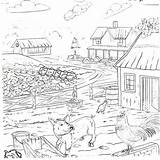 Coloring Country Farm Printable Pig Chickens Farmhouse Printables Colouring Chicken sketch template