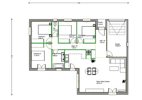 plan maison plain pied 3 chambres gratuit trouver modele maison 4 chambres