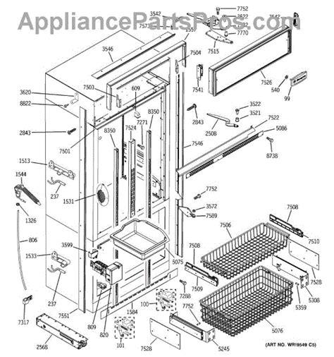 parts  ge zicsnxarh freezer section trim components parts appliancepartsproscom