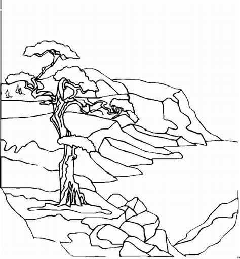 alter baum  meer ausmalbild malvorlage landschaften