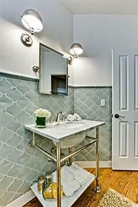 Elegant, Tiled, Powder, Bath, -, Traditional