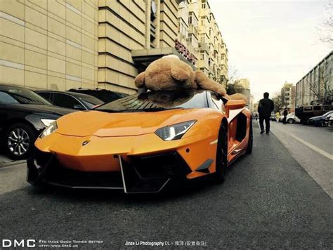 Lamborghini Aventador Wearing A Teddy Bear On Its Roof