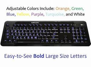 ivation seven color adjustable letter illuminated large With computer keyboard with large letters