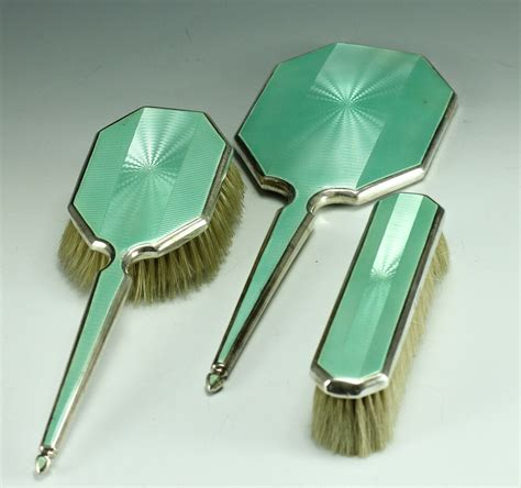 sterling silver vanity set 3pc adie brothers sterling silver w guilloche enamel