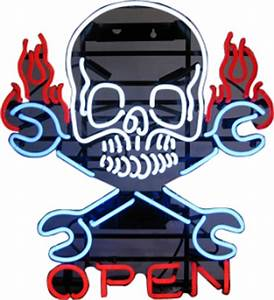 Business & Shop Window Neon Signs Open Skull & Spanners