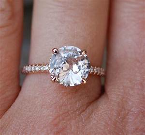 Rose gold engagement ring round peach sapphire diamond for Halo engagement rings with wedding bands