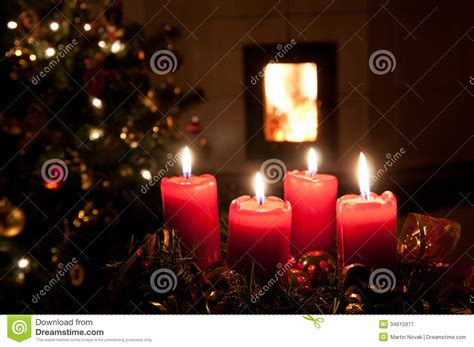 christmas advent wreath  burning candles royalty