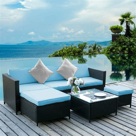 Patio furniture with stains, rips, or flat cushions are unattractive and uninviting. Clearance! 6PCS Outdoor Patio Furniture, All-Weather Wicker Patio Set, Rattan Sofa Set for ...