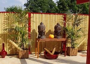 bambus zaunelemente moderner sichtschutz With feuerstelle garten mit bambus für den balkon