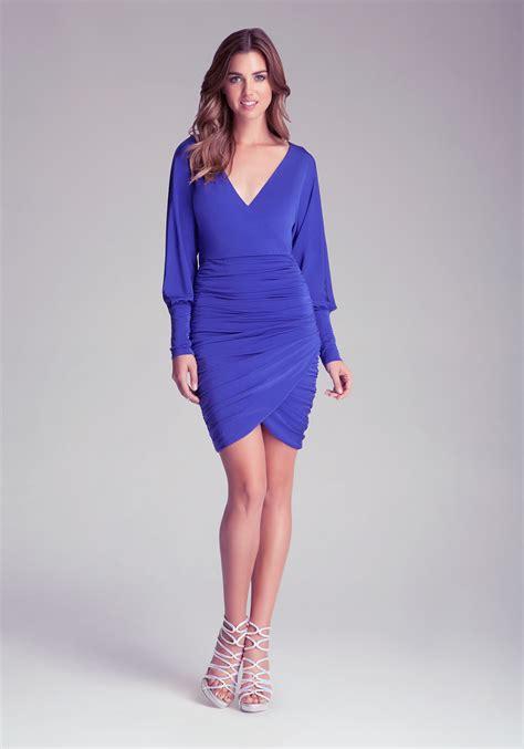 draped sleeve dress bebe dolman sleeve draped dress in blue lyst