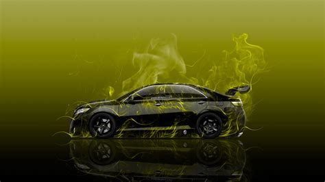 toyota camry jdm tuning side fire abstract car