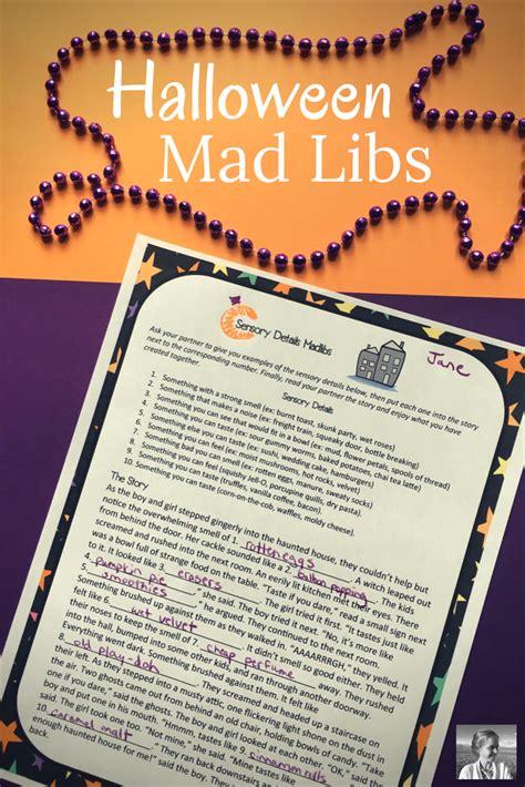 halloween creative writing sensory details mad libs