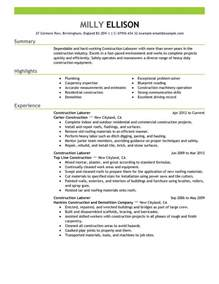 construction laborer resume exles construction labor resume exle construction sle resumes livecareer