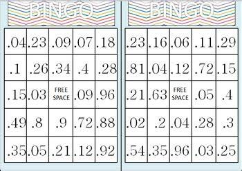 decimal bingo game tenths hundredths   heart