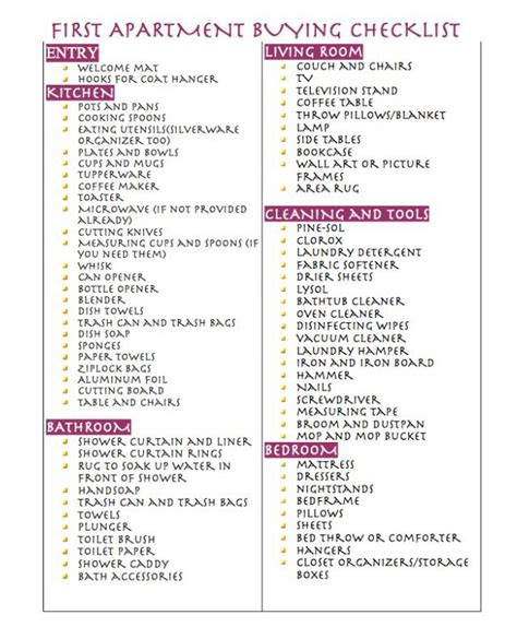 Appartment List by Apartment Buying Checklist Apartamento