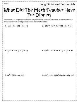 multiplying  dividing polynomials worksheet