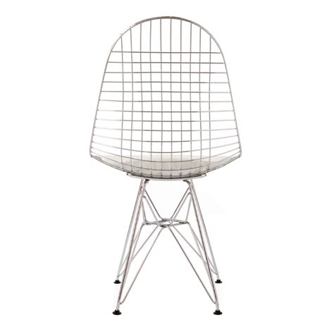 eames inspired chrome dkr wire chair with white cushion