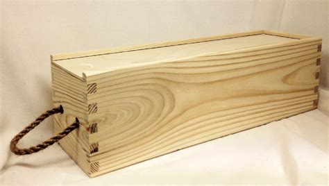 pine wood single wine box  sliding lid