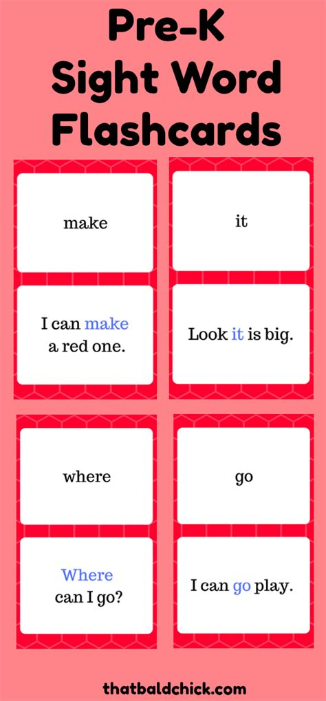 site words for preschoolers flashcards prek sight word flashcards that bald 174 633